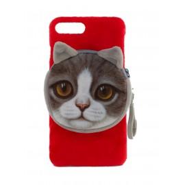 iPhone 7 Plus / 8 Plus Funda Velvet Seda con Monedero GATO Rojo