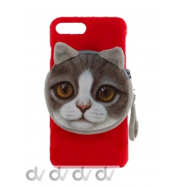 iPhone 7 Plus / 8 Plus Funda Velvet Seda con Monedero GATO Rojo
