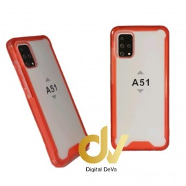 DV FUNDA A51 SAMSUNG TRANSPARENTE COLOR BUMPER AIR ROJO