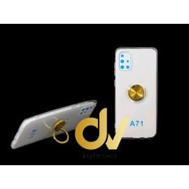DV  A71 SAMSUNG FUNDA TRANSPARENTE ANILLO E IMAN DORADO