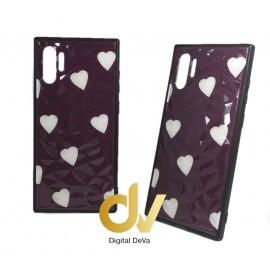 DV NOTE 10 PLUS / PRO FUNDA DIBUJO DIAMOND CORAZONES PURPURA