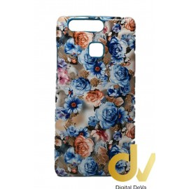P9 Huawei Funda Flores Azul