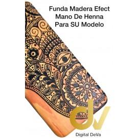 Y5 2018 HUAWEI FUNDA Madera EFECT MANO de Henna