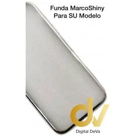 DV A8 2018  SAMSUNG  FUNDA CROMADO MARCO SHINY PLATA