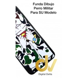 DV A8 2018  SAMSUNG  FUNDA DIBUJO RELIEVE 5D PERRO MILITAR