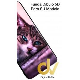 DV  A7 2018  SAMSUNG FUNDA DIBUJO RELIEVE 5D GATO OJOS AZULES