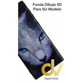 DV NOTE 10 PLUS / PRO SAMSUNG FUNDA DIBUJO RELIEVE 5D GATO OJOS AZULES