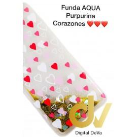 A20E SAMSUNG FUNDA Agua Purpurina CORAZONES