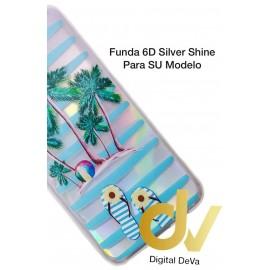 A01 SAMSUNG FUNDA 6D Silver Shine PALMERAS
