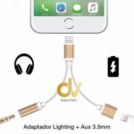 DV ADAPTADOR 2EN1 LIGHTING A CARGADOR Y AUDIO