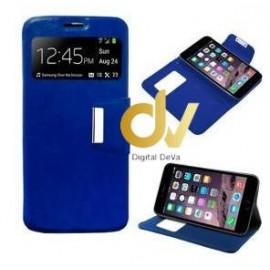 DV iPHONE 7G / 8G FUNDA LIBRO con cierre 1 VENTANA AZUL