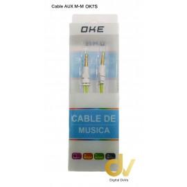 Cable Aux M-M OK7S Blanco