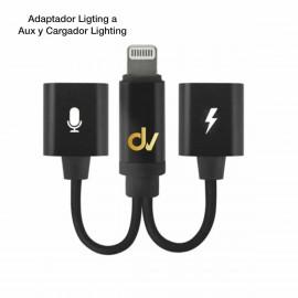 Adaptador Ligting a Aux y Cargador Lighting Negro