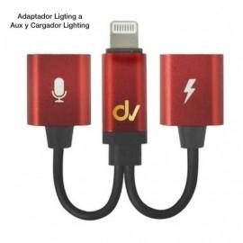 Adaptador Ligting a Aux y Cargador Lighting Rojo