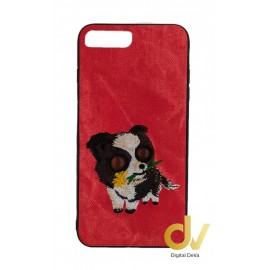 iPhone 7 Plus / 8 Plus Funda Tejido A Mano Perro Rojo