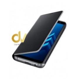 J4 2018 Samsung Funda Flip Case Espejo NEGRO