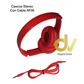 Cascos Stereo Con Cable AF06 Rojo
