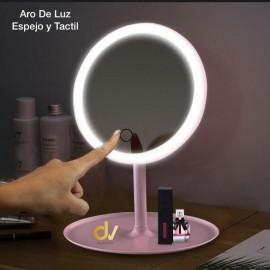 Aro De Luz Espejo y Tactil Rosa