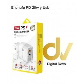 Enchufe PD + 2Usb 20W