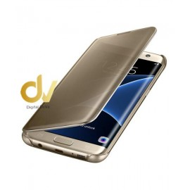 A7 2018 Samsung Funda Flip Case Espejo DORADO