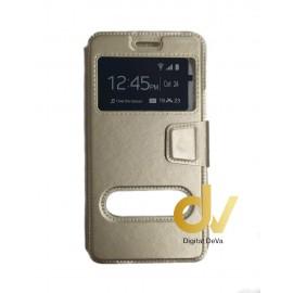 S9 Samsung Funda Libro 2 Ventanas DORADO