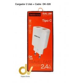 Cargador 2 Usb + Cable Tipo C DK-328
