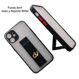 iPhone 12 6.1 Funda 2en1 Iman y Soporte Slider Negro