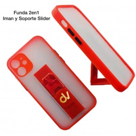 iPhone 12 6.1 Funda 2en1 Iman y Soporte Slider Rojo