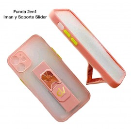 iPhone 12 6.1 Funda 2en1 Iman y Soporte Slider Rosa