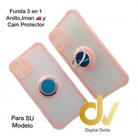 iPhone 12 5.4 Funda 3en1 Anillo, Iman y Cam Protector Rosa
