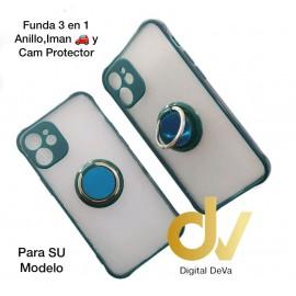 iPhone 12 5.4 Funda 3en1 Anillo, Iman y Cam Protector Verde