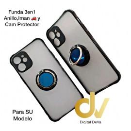 A21S Samsung Funda 3en1 Anillo, Iman y Cam Protector Negro