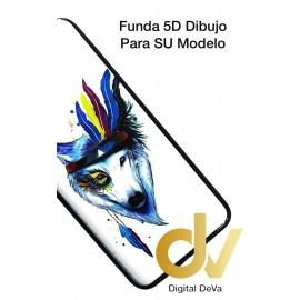 A21S Samsung Funda Dibujo 5D Lobo Plumas