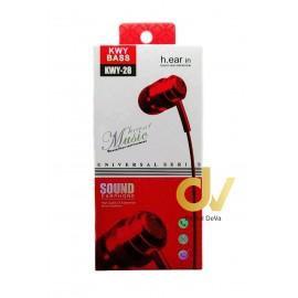 Auricular Microfono KWY28 Rojo