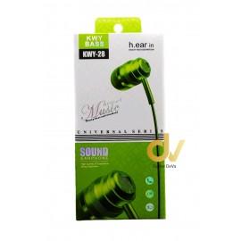 Auricular Microfono KWY28 Verde