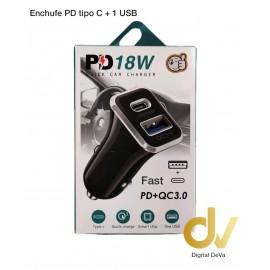 Enchufe PD Tipo C + 1 USB Negro
