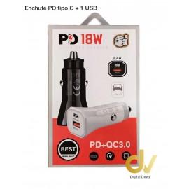 Enchufe PD Tipo C + 1 USB 18w Negro
