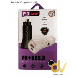 Enchufe PD Tipo C + 1 USB 2.4A Negro